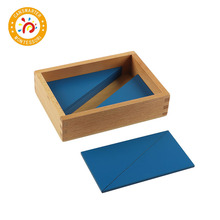Montessori Material Wooden Educational Toy Blue Triangles Interesting Jigsaw Puzzle