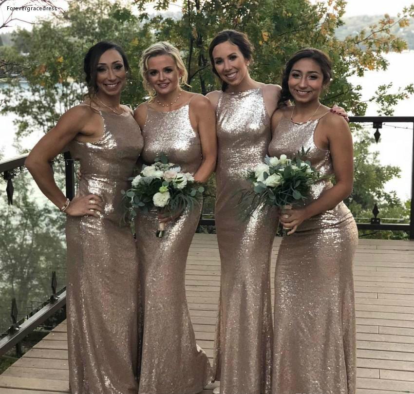 Sequins   Bridesmaid     Dress   Cheap Halter Neck Summer Country Garden Formal Wedding Party Guest Maid of Honor Gown Plus Size