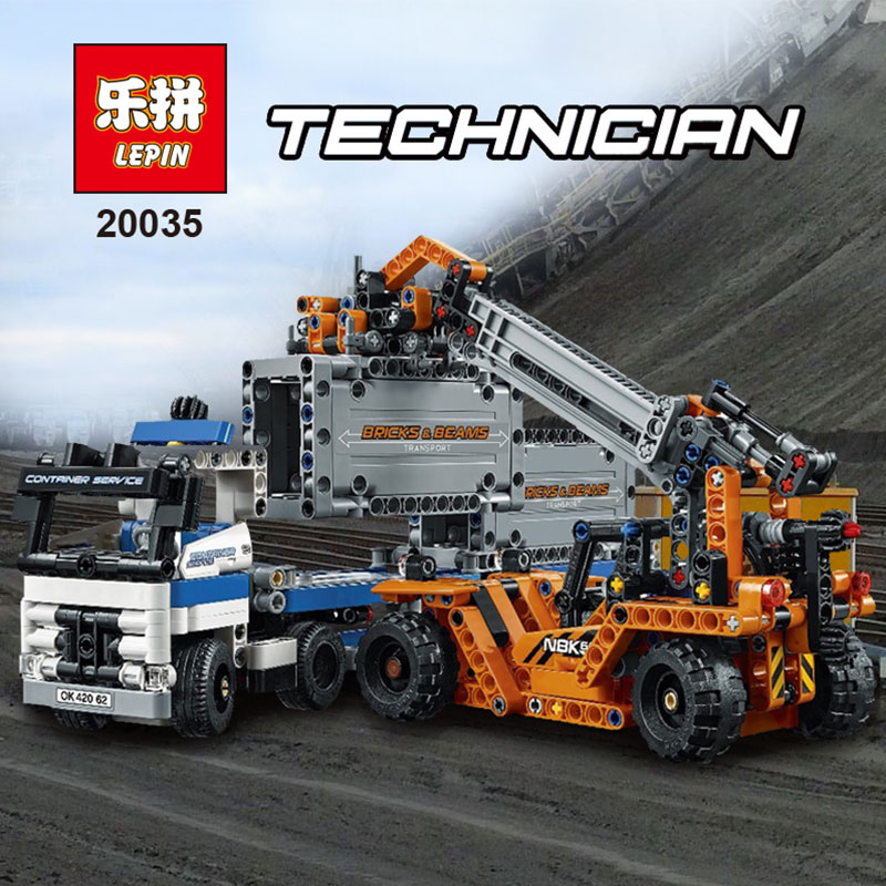 Lepin 631Pcs 20035 Technic Series The Container Trucks and Loaders Set Building Blocks Bricks Educational Toys Compatible 42062 construction equipment backhoe skid steer loaders wheel loaders road roller service manuals for hyundai