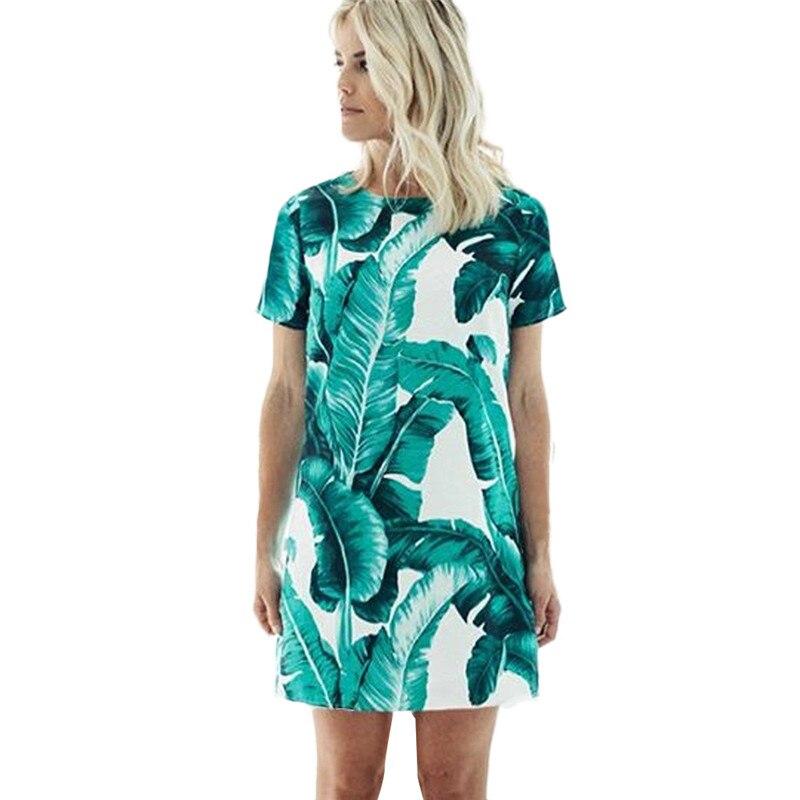 snowshine YLI Women Sexy Dress Leaf Print Dress Short Sleeve Dress free shipping