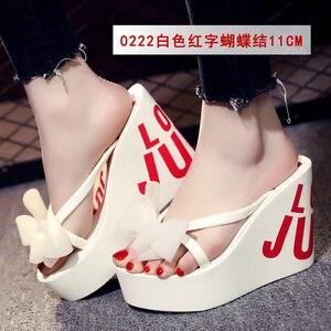 Image 5 - Estate belle signore super high tacco alto piattaforma flip flops11cm scarpe da spiaggia pantofole pantofole di nozze scarpe da donna di lusso