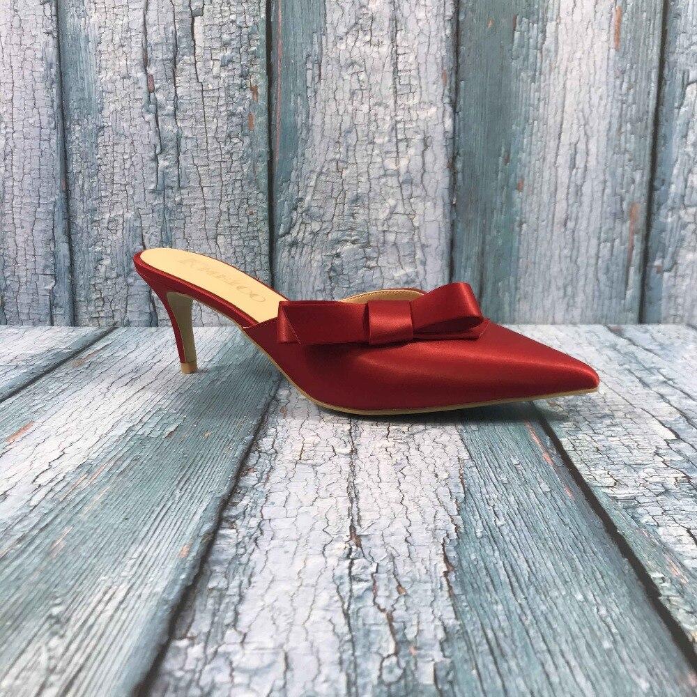 Kmeioo taille américaine 5-15 douce Mule pour femmes noeud papillon Mules sans lacet chaton talons bout pointu pantoufles Satin robe casual chaussures 6.5 CM