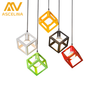ASCELINA LED Pendant Lights Nordic Vintage Loft Pendant Light With Square Lamp Shade Lamps For Living