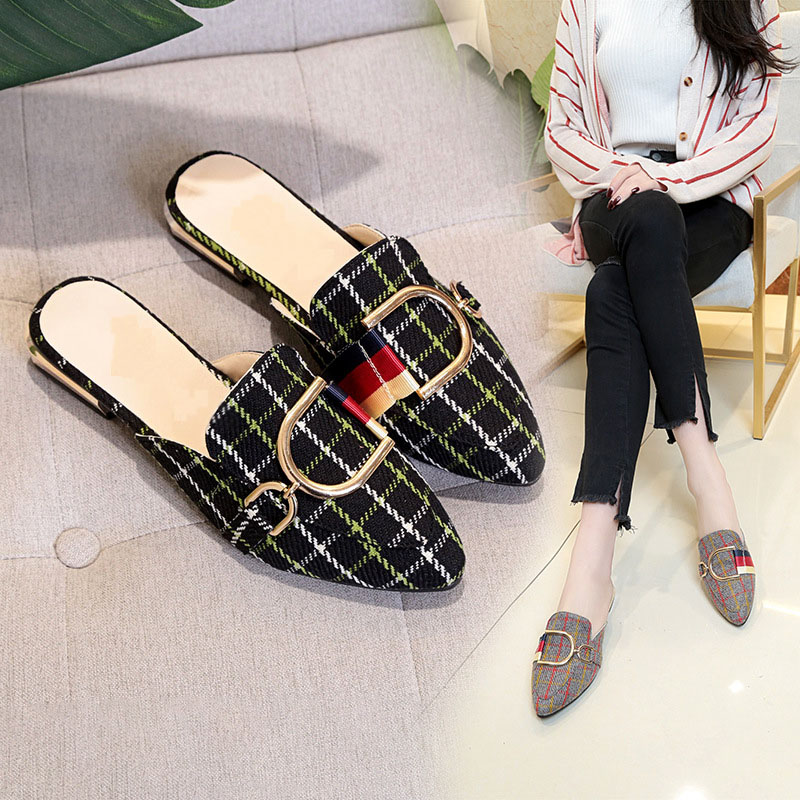 Women Slippers Flat Woman Shoes Small Size Flat Mules Fashion Metal Gingham Ladies Women Slippers Shoes Flip Flop Female Sandals kone drive v3f16l inner board km964619g01