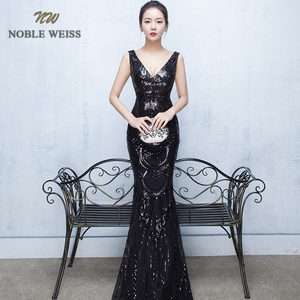 Image 5 - evening dresses 2019 sexy v neck mermaid balck/blue/red sequin women formal dress floor length in stock evening gown