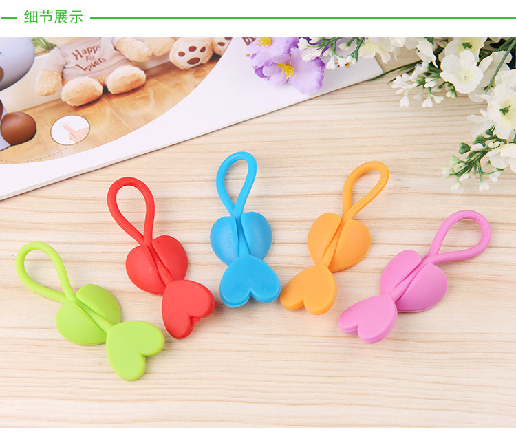 50PCS Cute Love Heart Earphone Headphone Winder Cable Cord Wrap Organizer Holder For Food bags clip Free shipping