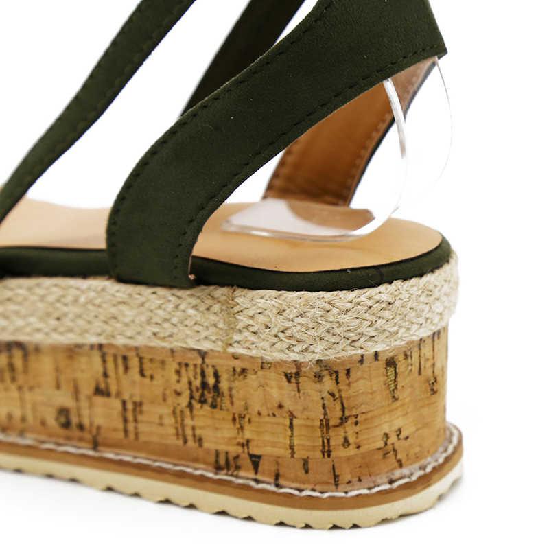 קיץ לבן טריז נעלי נשים סנדלי גלדיאטור בוהן פתוח מזדמן תחרה עד נשים פלטפורמת סנדלי