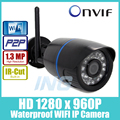 WI-FI 1280x960 P 1.3MP Пуля Ip-камера Водонепроницаемый 24LED ИК ночного Видения Открытый Камеры Безопасности ONVIF P2P CCTV Камеры с Ик-