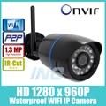 WIFI 1280x960 P 1.3MP Bala 24LED IR Cámara IP A Prueba de agua Visión nocturna Al Aire Libre Cámara de Seguridad ONVIF P2P CCTV Cámara con IR-Cut
