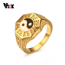 Vnox Mens Yin Yang Signet Ring Stainless Steel Taoism Religion Gold Plated Vintage Lucky Jewelry for Mens Boys Size 7-11