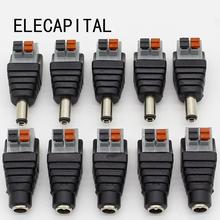 5 sztuk DC mężczyzna + 5 sztuk DC kobieta złącze 2 1*5 5mm DC Power Adapter gniazda Jack złącze wtykowe dla 3528 5050 5730 jednokolorowa taśma led tanie tanio ELECAPITAL 2 1mm x 5 5mm