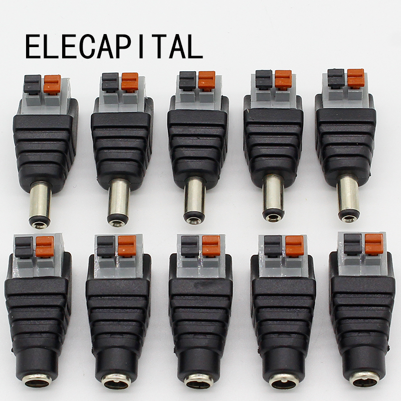 5pcs DC Male +5 pcs DC Female connector 2.1*5.5mm DC Power Jack Adapter Plug Connector for 3528/5050/5730 single color led strip cnd creative play вase coat 13 6 мл page 7