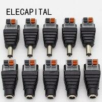 5 stücke DC Männlichen + 5 stücke DC buchse 2.1*5,5mm DC Power Jack Adapter Stecker Stecker für 3528/5050/5730 einzigen farbe led streifen