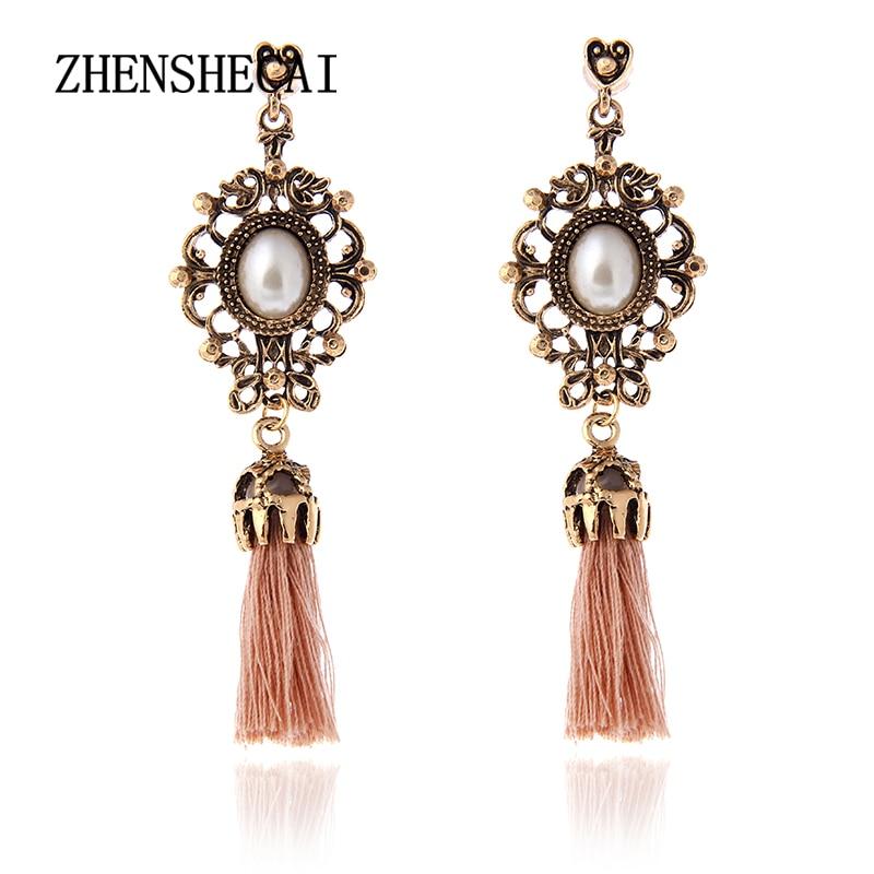 Vintage Accessories Rhinestone Crystal Alloy Flower Tassel Earrings For Women Pendientes Brincos Statement Earrings E0237