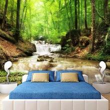 Custom Photo Wallpaper HD Waterfall Water Landscape Mural Living Room TV Sofa Bedroom Home Decor Wall Cloth Papel De Parede 3D цена 2017