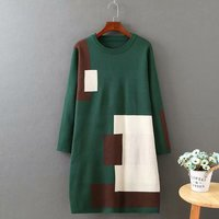 Plus size gray & green autumn winter women Knitted pullovers 2018 O Neck patchwork ladies long sweater wool female 4XL