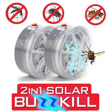 2PCS/Lot Solar Powered Mosquito Killer Lamp Fly Insect Bug Trap Zapper Killer Anti Mosquito Repellent Buzz UV Lamp Light недорого