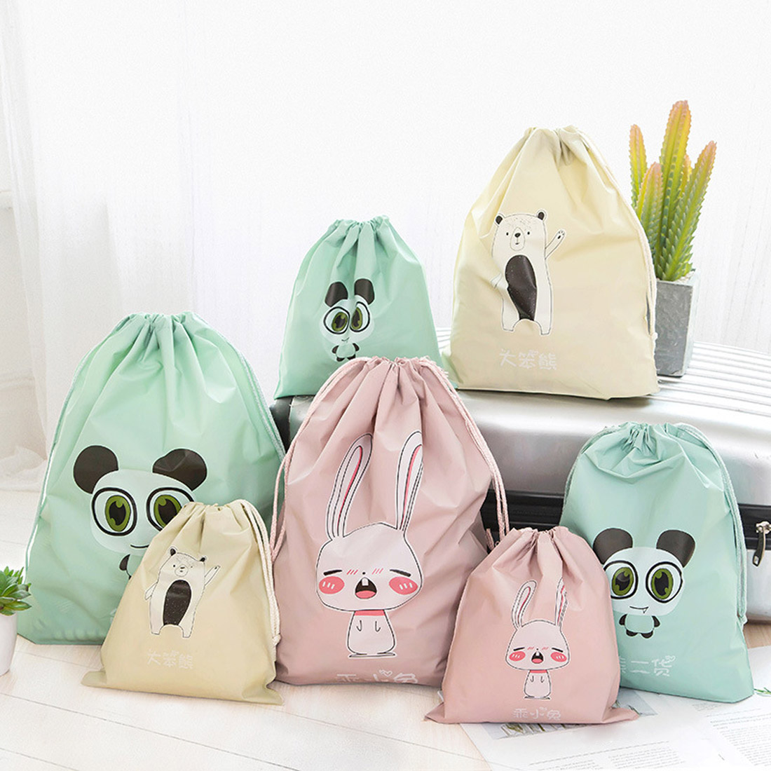 Waterproof Clothes Storage Bag Travel Packing Bag Breast Milk Polar Bear Stripe Lingerie Makeup Drawstring Bag