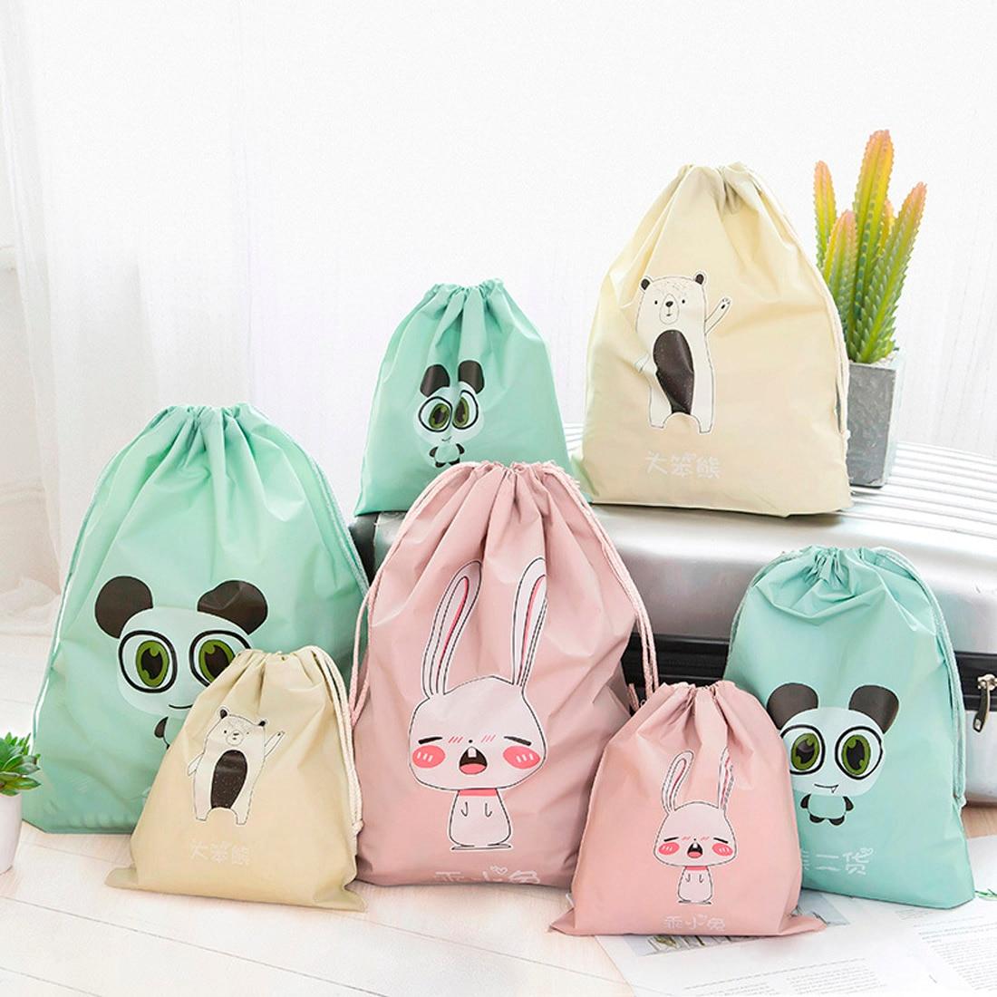 Waterproof Clothes Storage Bag Travel Packing Bag Breast Milk Polar Bear Stripe Lingerie Makeup Drawstring Bag
