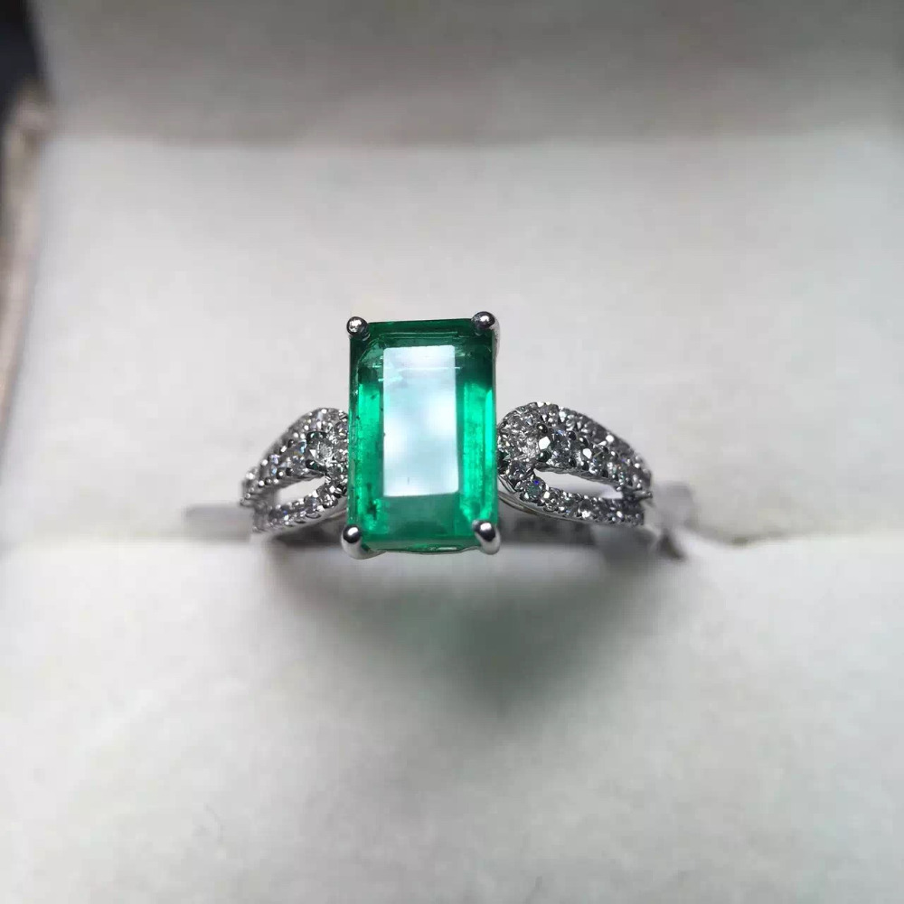 5.6*8.7mm 1.9ct gold 2.09g fine jewelry perfect 18k gold perfect highest grade green emerald ring wedding ring