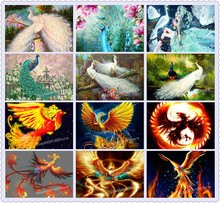 Full square / round drill peacock icon 5d diy diamond painting cross stitch mosaic 3d diamond embroidery phoenix