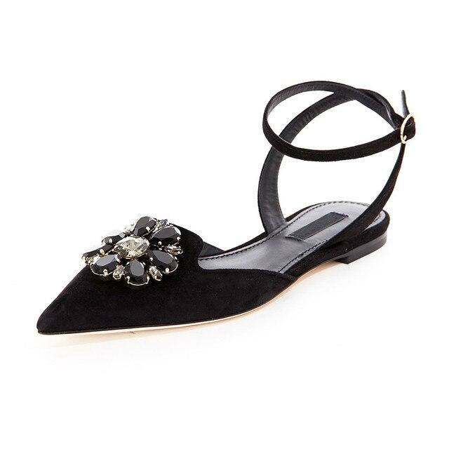 Новая модель 2017 г. женские весна лето женская Туфли без каблуков острый  носок замшевые босоножки 6e7cd3fdf63