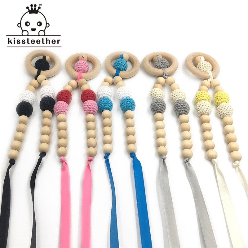 Crochet wood beads 20mm BLUSH PINK light knit wooden teething DIY jewellery hot