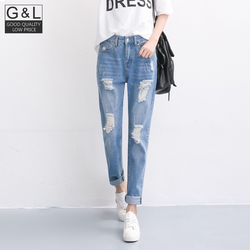 New Autumn New Fashion Cotton Jeans Women Loose Low Waist Washed Vintage Big Hole Ripped Long Denim Pencil Pants spring new fashion cotton jeans women loose high waist washed vintage big hole ripped ankle length denim straight pants mz1535