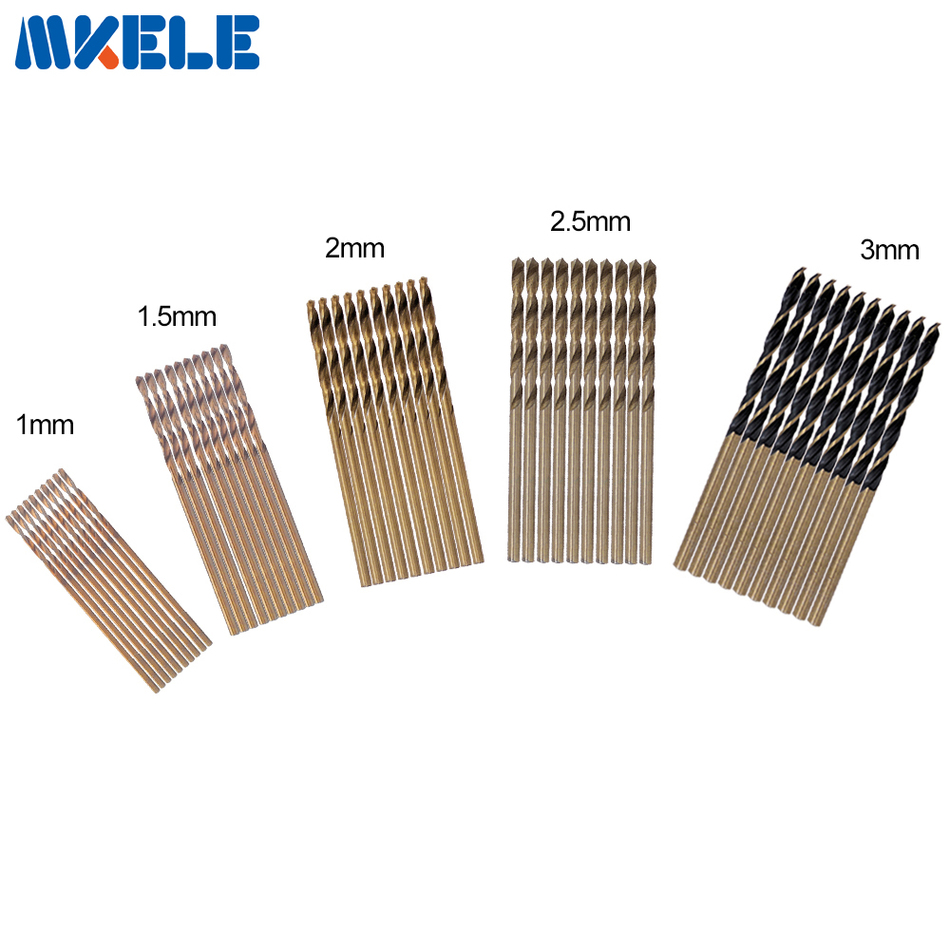 New 50Pcs/Set Twist Drill Bit Set HSS High Steel Titanium Coated Drill bits Woodworking Wood Tools 1/1.5/2/2.5/3mm For Metal evanx 1 10mm wood drill twist drill bit set hss drill bits for metal electric drill woodworking tools 19pcs page 1