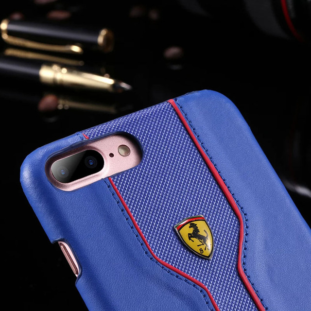 Luxury PU Leather Case For Apple iPhone 7 7Plus 6S 6SPlus Phone Case Slim Hard PU Case Cover For iphone7Plus With Ferrari Logo