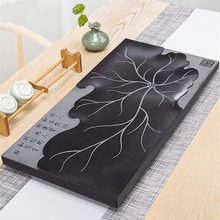 heavy black stone tea tray drainage water system boat for Chinese kungfu set natural table serving new