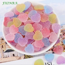 FXINBA 10Pcs/lot Fake Candy Resin Cabochon Flatback Heart Shape Jelly Simulation Food DIY Charms Slime Supplies Clay Decor Craft
