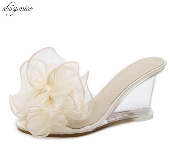 e5e359209 الزهور مثير أسافين الصنادل 2018 النعال كعب 8.5 سنتيمتر باردة شفافة  الكريستال أحذية عالية الكعب الزفاف زائد-الحجم 34-43