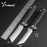 KKWOLF New pocket folding knife D2 blade camping hunting survival tactical knives ball bearing Flipper washer EDC tools defense
