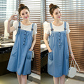 2016 New Summer Maternity t shirt + Dress Maternity One-piece Casual pregnancy Denim Clothing Bow Clothes for Pregnant Women