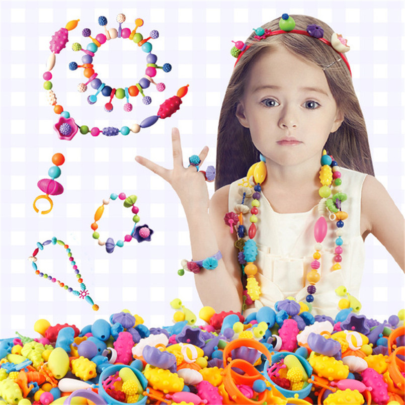 400Pcs Pop Beads Toys Colorful Art Crafts For Girls Bracelet Snap Bead Toy Jewelry Accessories Puzzle Educational Toy For Kids