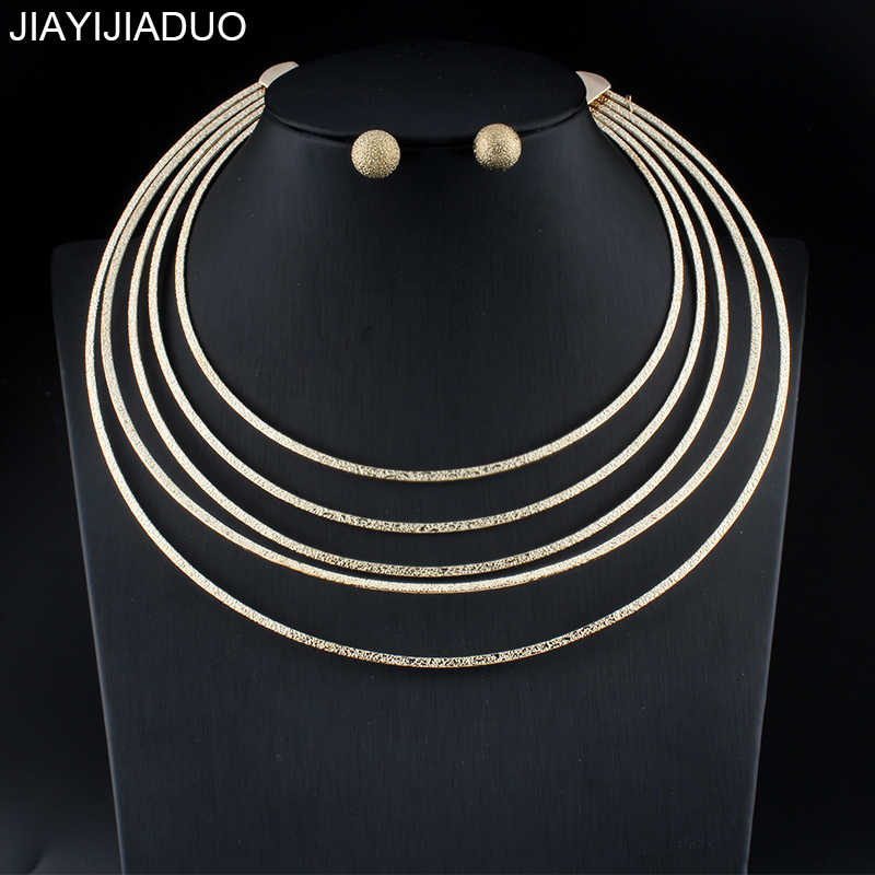 jiayijiaduo New Fashion African Jewelry 5 Circle Set for Women Wedding Gold Color Necklace Earrings Set Gift dropshipping 2018