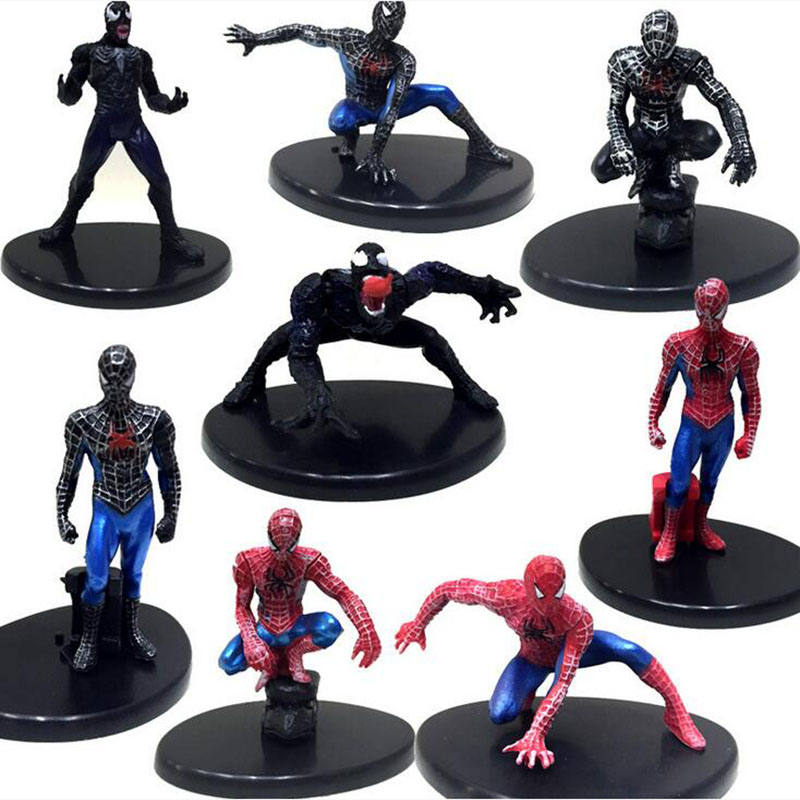 8PCS/set <font><b>The</b></font> avengers Action Figure 8CM PVC <font><b>Spider</b></font> <font><b>man</b></font> Toy Crazy Toys Marvel <font><b>The</b></font> <font><b>Amazing</b></font> <font><b>Spider</b></font> <font><b>man</b></font> Brinquedos WJ441