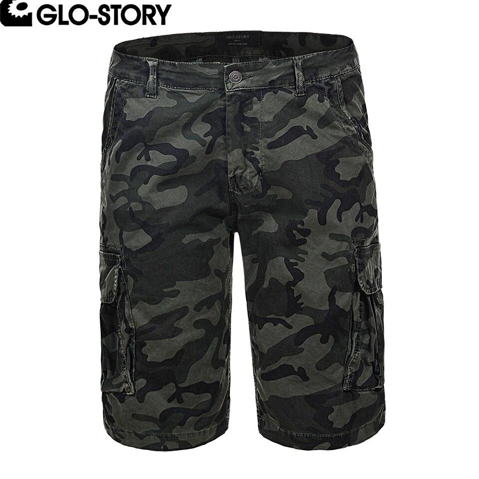 GLO-STORY Mens Camouflage Military Knee Length Cargo Shorts Masculina Cotton Bermuda Short MMK-6230