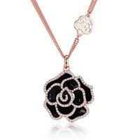 ผู้หญิงดอกไม้จี้สร้อยคอสีดำและสีขาวกุหลาบสีทอง