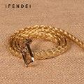 IFENDEI Новый Ремень Женщин Диких Моды Кожа PU женщин Тонкий Пояс Талии Плетеный Оформлены Ремень Серебро Золото Черный Ceintures Femme