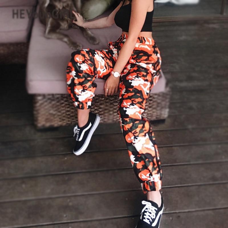 HEYounGIRL Arancione Pantaloni Mimetici Harem Camo Sweatpant Vita Alta Hip Hop Cargo Pantaloni A Righe Pantaloni Pantalon Femme di Plastica