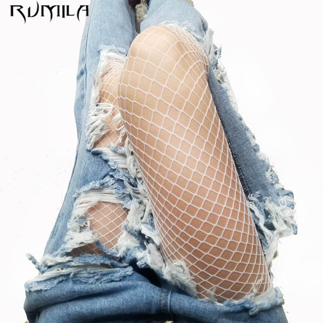 Fashion white medium grid women high waist stocking fishnet club tights panty knitting net pantyhose trouser mesh lingerie