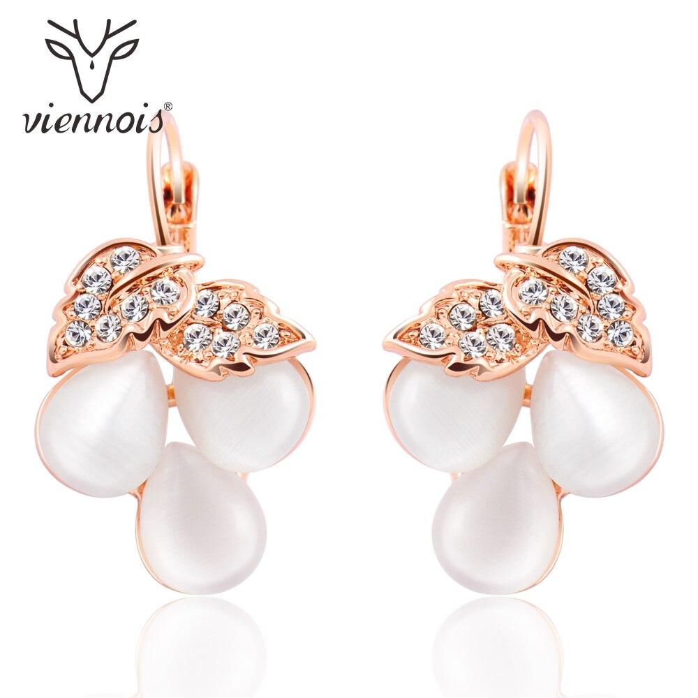 Viennois Rose Gold Color Grape Shape Women Dangle Earrings Romantic Opal Stone Female Drop Earrings Fashion Jewelry