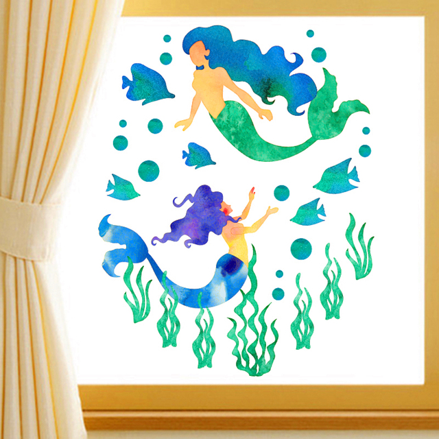 Creative Seabed Mermaid Fish Wall Stickers Home Decor Living Room
