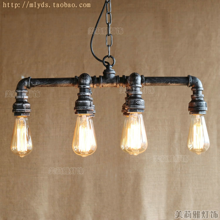 Lampe Vintage Industrial Lighting Fixtures Water Pipe Edison Pendant Lamp With 6 Lights For Cafe Foyer Bar American Loft Style 2pcs american loft style retro lampe vintage lamp industrial pendant lighting fixtures dinning room bombilla edison lamparas