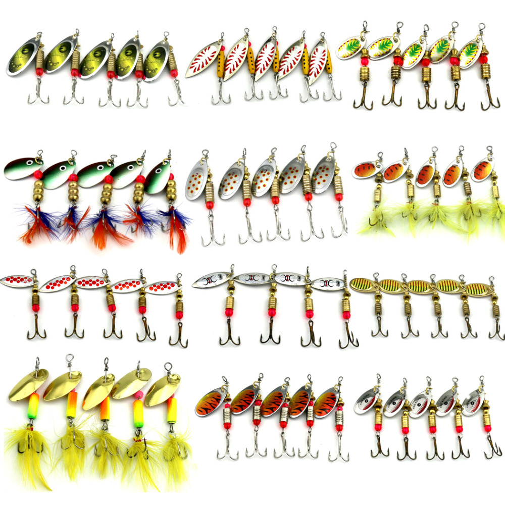 5PCS/Set Spinner Spoon Fishing Lure Spinner Bait Metal Hard Minnow Lure isca artificial fishing wobbler Tackle
