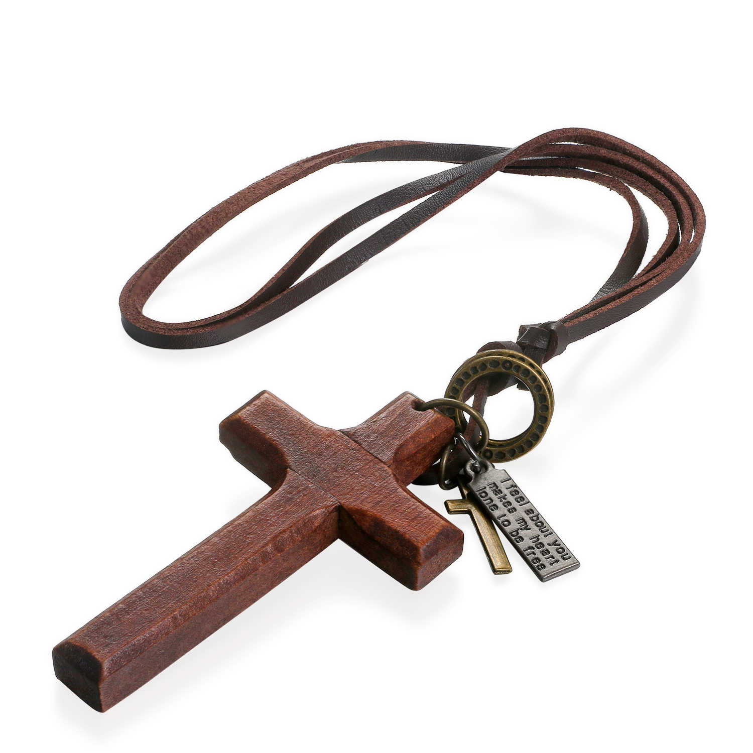 BONISKISS Vintage Wood Cross Necklaces For Men Adjustable Leather Necklace Cool Decoration For Man Birthday Gift Male Jewelry