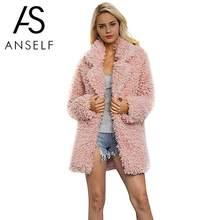 d8a21af08b125 Anself décontracté hiver manteau femmes 2019 mode à manches longues veste  manteau chaud lâche épais allonger fausse fourrure man.