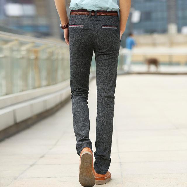 2017 Homens Vestem Calças Skinny Calças Calças De Linho Primavera Outono Lixar Algodão Longa Reta Calças Slim Dos Homens Calça Casual Masculino